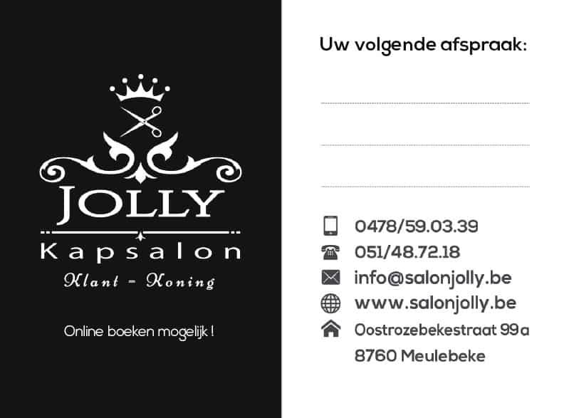 Afsprakenkaartje Salon Jolly